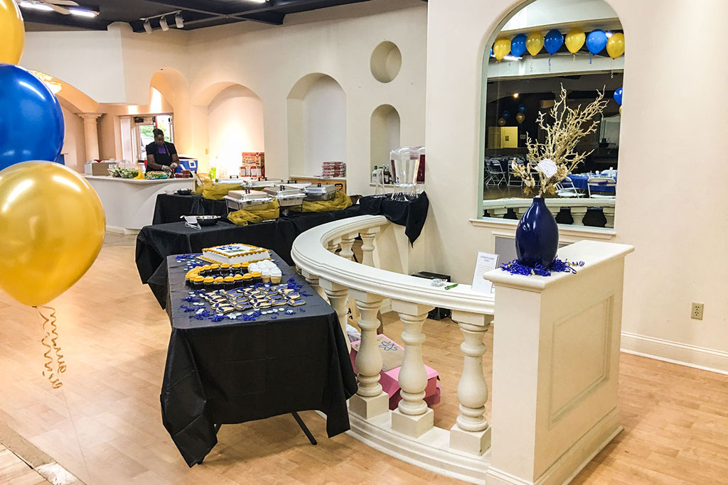 blue-and-gold-food-display